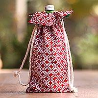 Cotton batik wine bottle bag, 'Royal Red Java' - Red and White Cotton Batik Wine Bottle Gift Bag