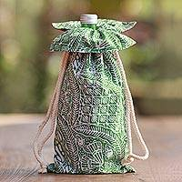 Cotton batik wine bottle bag, 'Flourishing Flowers' - Green and White Cotton Batik Wine Bottle Gift Bag