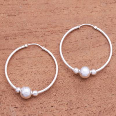 Sterling silver hoop earrings, 'Shiny Orbit' - Sterling Silver Hoop Earrings with Beads from Bali