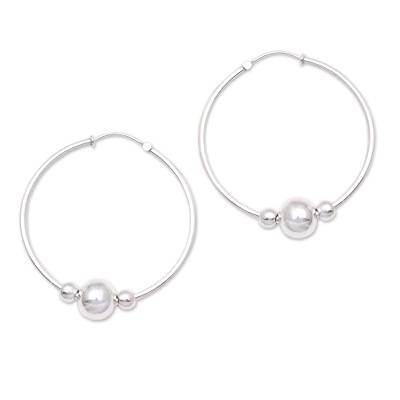 Sterling Silver Hoop Earrings with Beads from Bali