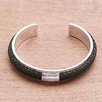 Sterling silver and leather cuff bracelet, 'Sunny Grass' - Sterling Silver and Green Leather Cuff Bracelet from Bali