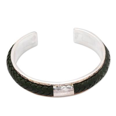 Sterling Silver and Green Leather Cuff Bracelet from Bali