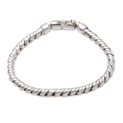 Unisex Sterling Silver Unique Link Chain Bracelet from Bali