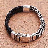 Leather and sterling silver bracelet, 'Majestic Duo in Black' - Black Braided Leather and Sterling Silver Link Bracelet