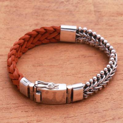 Leather and sterling silver bracelet, 'Majestic Duo in Brown' - Brown Braided Leather and Sterling Silver Bracelet