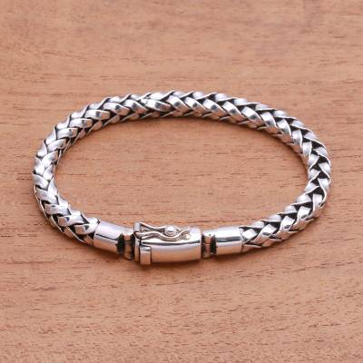 Sterling silver chain bracelet, Interwoven Strength