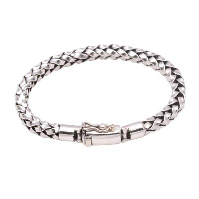 Unisex Sterling Silver Woven Motif Chain Bracelet from Bali