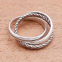 Sterling silver band ring, 'Appealing Trio' - Combination Pattern Sterling Silver Band Ring from Bali