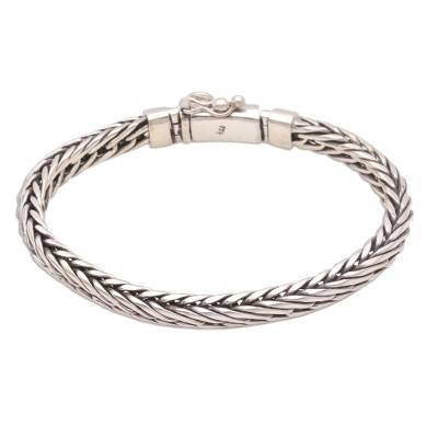 Sterling Silver Foxtail Chain Bracelet from Bali