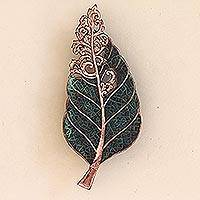 Copper wall sconce, 'Teak Leaf' - Leaf-Shaped Stylized Copper Wall Sconce from Java