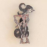Copper wall sconce, 'Arjuna' - Arjuna Shadow Puppet Copper Wall Sconce from Java