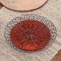 Copper catchall, 'Wire Basket' - Handwoven Copper Wire Catchall from Java