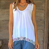 Rayon blouse, 'Flower Colors in White' - Floral Embroidered Rayon Blouse in White from Bali