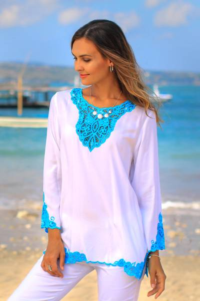 Rayon tunic, 'Kayangan in White' - White and Turquoise Embroidered Rayon Tunic from Bali