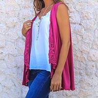 Rayon vest, 'Garden's Glory in Magenta' - Floral Embroidered Rayon Vest in Magenta from Bali