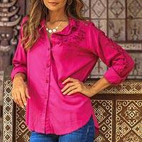 Rayon button-up blouse, 'Floral Cloud in Magenta' - Floral Rayon Button-Up Shirt in Magenta from Bali