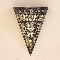 Brass wall sconce, 'Royal Torch' - Conical Brass Wall Sconce Crafted in Java