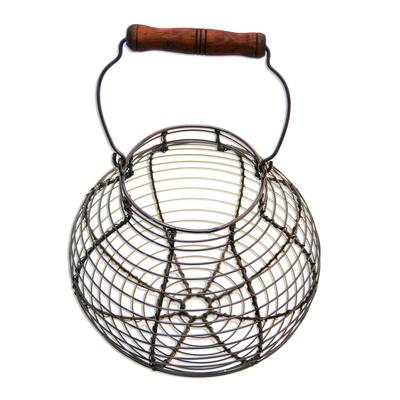 Handmade Round Aluminum Decorative Basket with Wood Handle