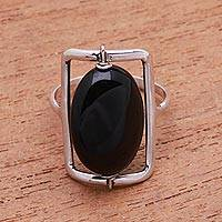 Onyx single-stone ring, 'Deep Soul'