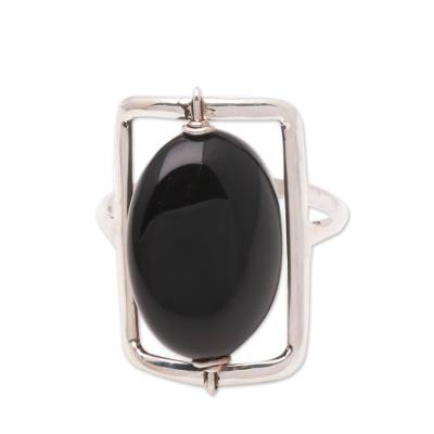 Black Onyx Single-Stone Ring Crafted in Bali