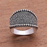 Sterling silver band ring, 'Balinese Dots' - Dot Pattern Sterling Silver Band Ring from Java