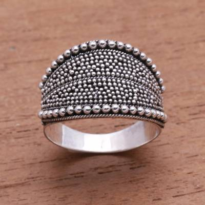 Sterling silver band ring, Balinese Dots
