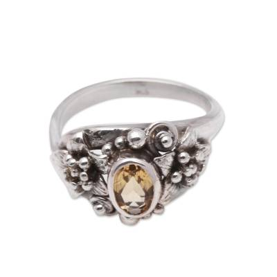 Lotus Flower Citrine Cocktail Ring from Bali