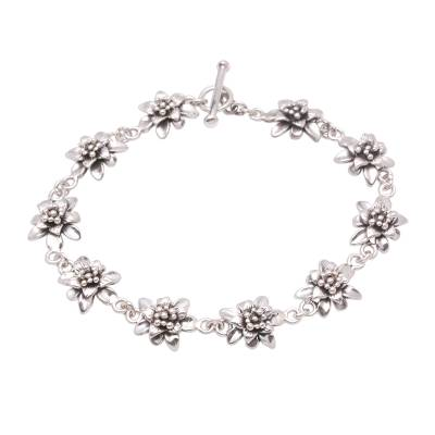 Lotus Flower Sterling Silver Link Bracelet from Bali