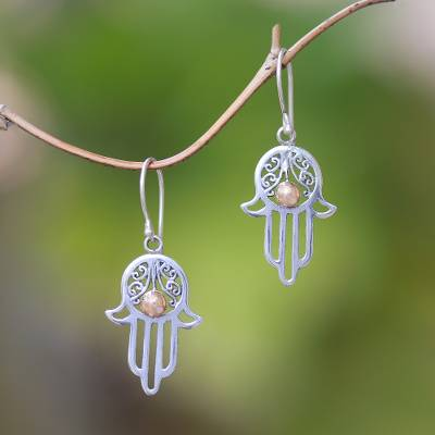 Gold accented sterling silver dangle earrings, 'Hamsa Gleam' - Gold Accented Sterling Silver Hamsa Dangle Earrings