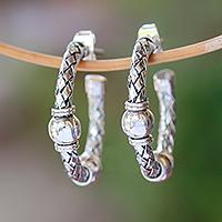Sterling silver half-hoop earrings, 'Balinese Bond' - Weave Pattern Sterling Silver Half-Hoop Earrings from Bali