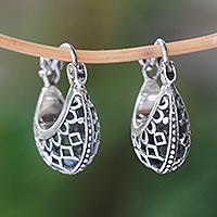 Sterling silver hoop earrings, 'Curved Elegance'