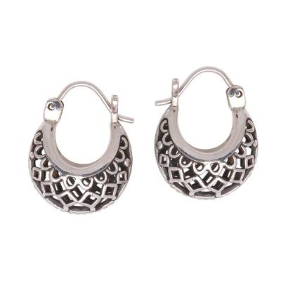 Sterling silver hoop earrings, 'Curved Elegance' - Openwork Sterling Silver Hoop Earrings from Bali