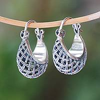 Sterling silver hoop earrings, 'Hanging Baskets' - Basket Pattern Sterling Silver Hoop Earrings from Bali