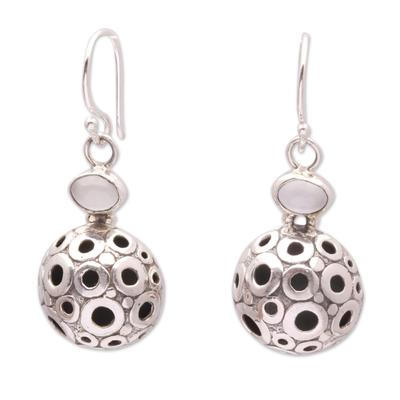 Circle Pattern Moonstone Dangle Earrings from Bali