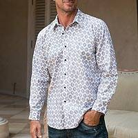 Men's cotton shirt, 'Bali Monochrome' - Stone and Eggshell Men's Cotton Shirt from Bali