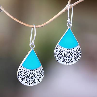 Sterling silver and resin dangle earrings, 'Bali Tears' - Teardrop Sterling Silver and Resin Dangle Earrings from Bali