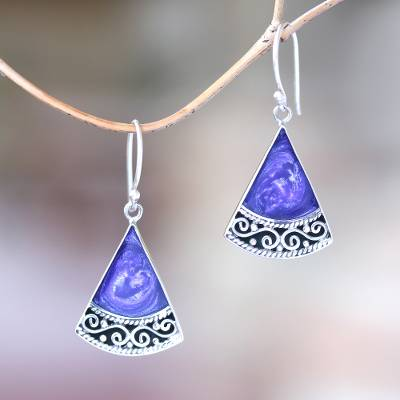 Sterling silver and resin dangle earrings, Mystical Triangles