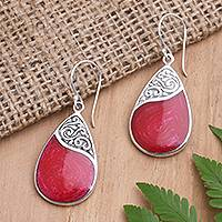 Sterling silver and resin dangle earrings, 'Bali Pear' - Red Teardrop Sterling Silver and Resin Dangle Earrings