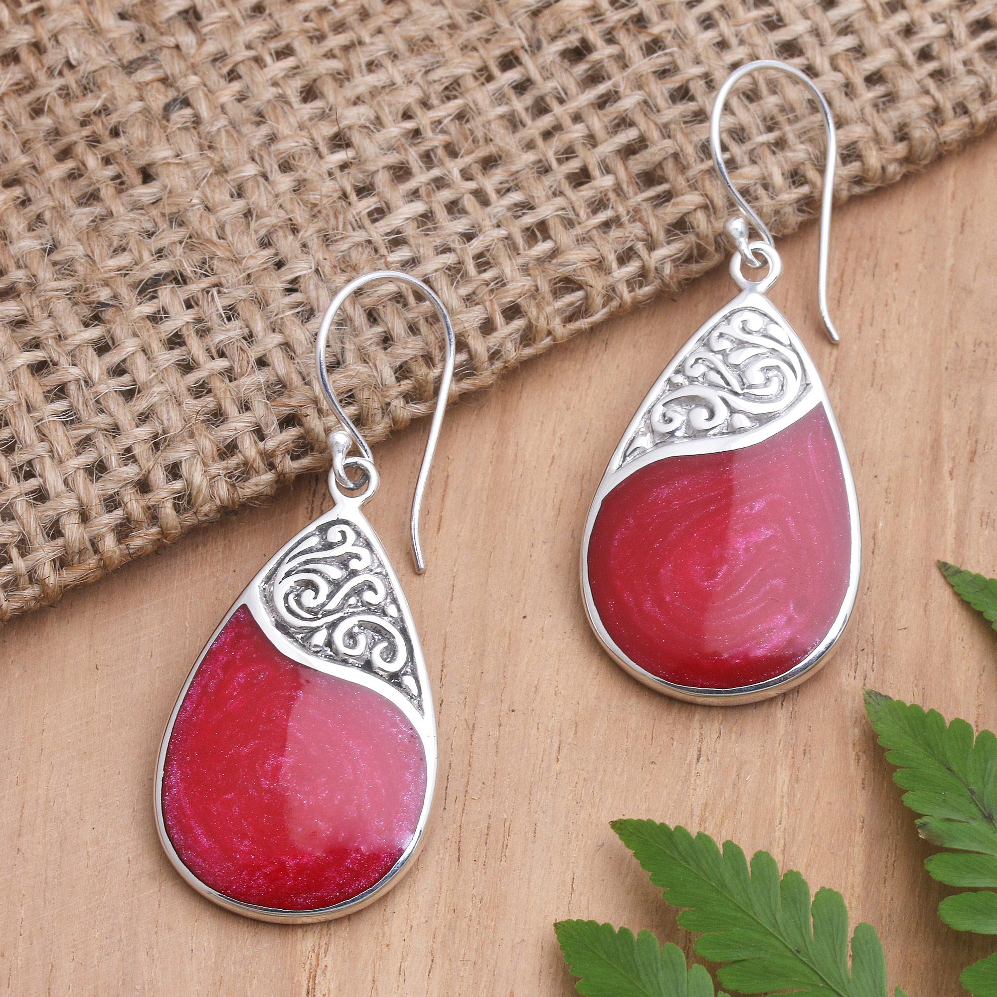 Red Resin Earrings Wood Earrings Red Drop Earrings Red Dangle Earrings Oval Resin Earrings Red Wood Earrings Resin Wood Earrings