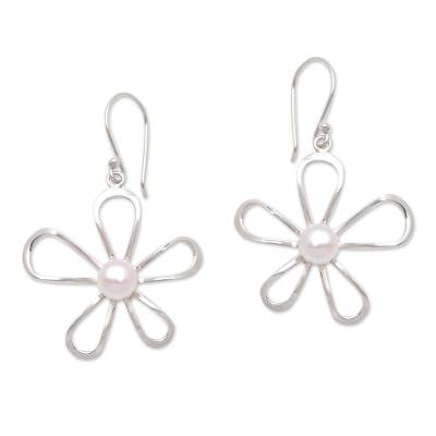 Floral Cultured Pearl Dangle Earrings Crafted in Bali