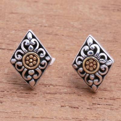 Gold accented sterling silver stud earrings, 'Kite Bouquet' - Kite-Shaped Gold Accented Sterling Silver Stud Earrings