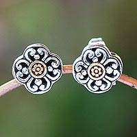 Gold accented sterling silver stud earrings, 'Curling Flower' - Floral 18k Gold Plated Sterling Silver Stud Earrings