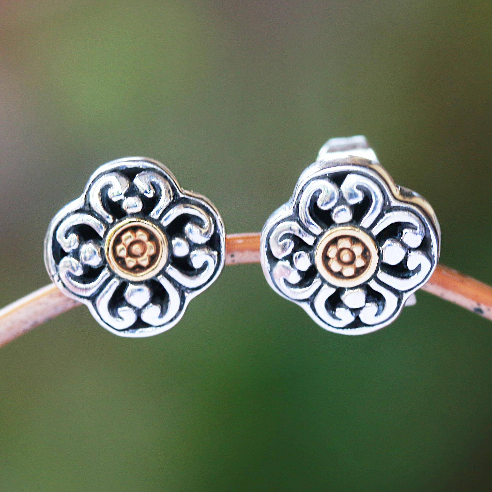 silver plating with gold Floreal earrings with circles