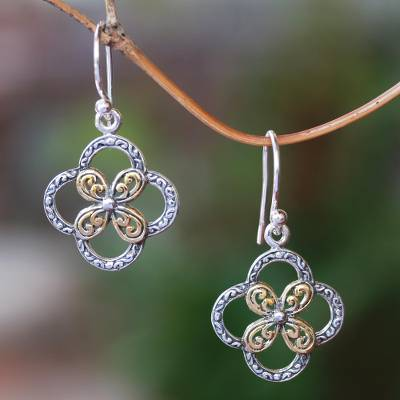Gold accented sterling silver dangle earrings, 'Summery Petals' - Floral Gold Accented Sterling Silver Dangle Earrings