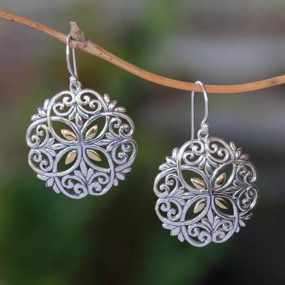 Gold accented sterling silver dangle earrings, 'Winter Petals' - Circular Gold Accented Sterling Silver Dangle Earrings