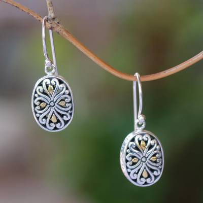 Gold accented sterling silver dangle earrings, 'Charming Vines' - Oval Gold Accented Sterling Silver Dangle Earrings from Bali