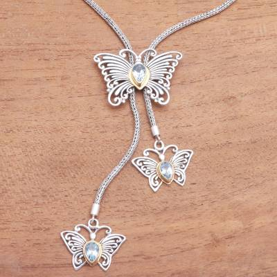 Gold accent blue topaz pendant necklace, Butterfly Trio