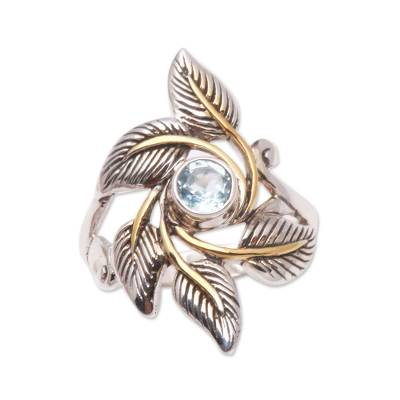 Leafy Gold Accented Blue Topaz Cocktail Ring from Bali