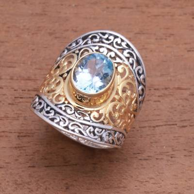 Gold accented blue topaz single-stone ring, 'Powerful Gemstone' - 4.5-Carat Gold Accented Blue Topaz Single-Stone Ring