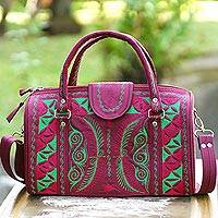 Cotton handbag, 'Langit Aceh' - Kelly Green and Rose Embroidered Cotton Handbag from Bali